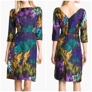 Milly Delaney Printed Silk Dress 12 black purple